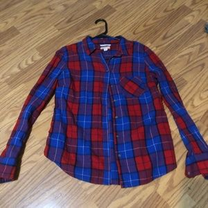 Flannel blue red button down shirt